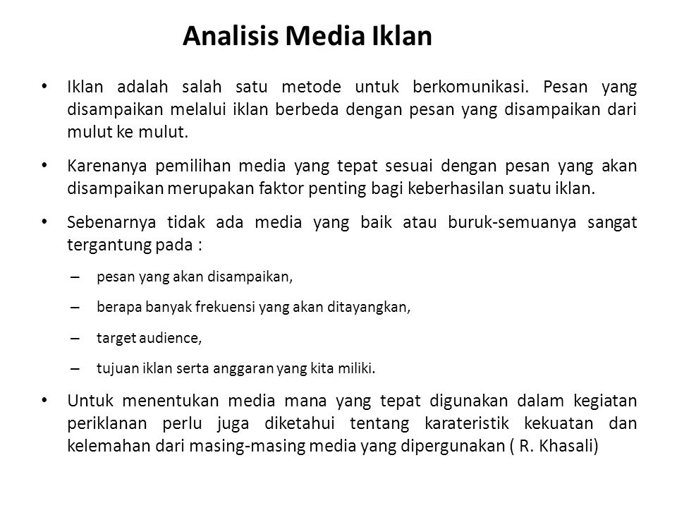 Analisis Media Iklan