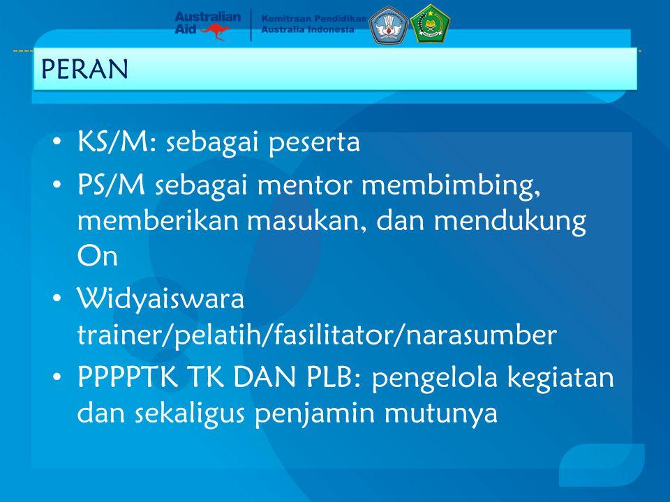 PS/M sebagai mentor membimbing, memberikan masukan, dan mendukung On