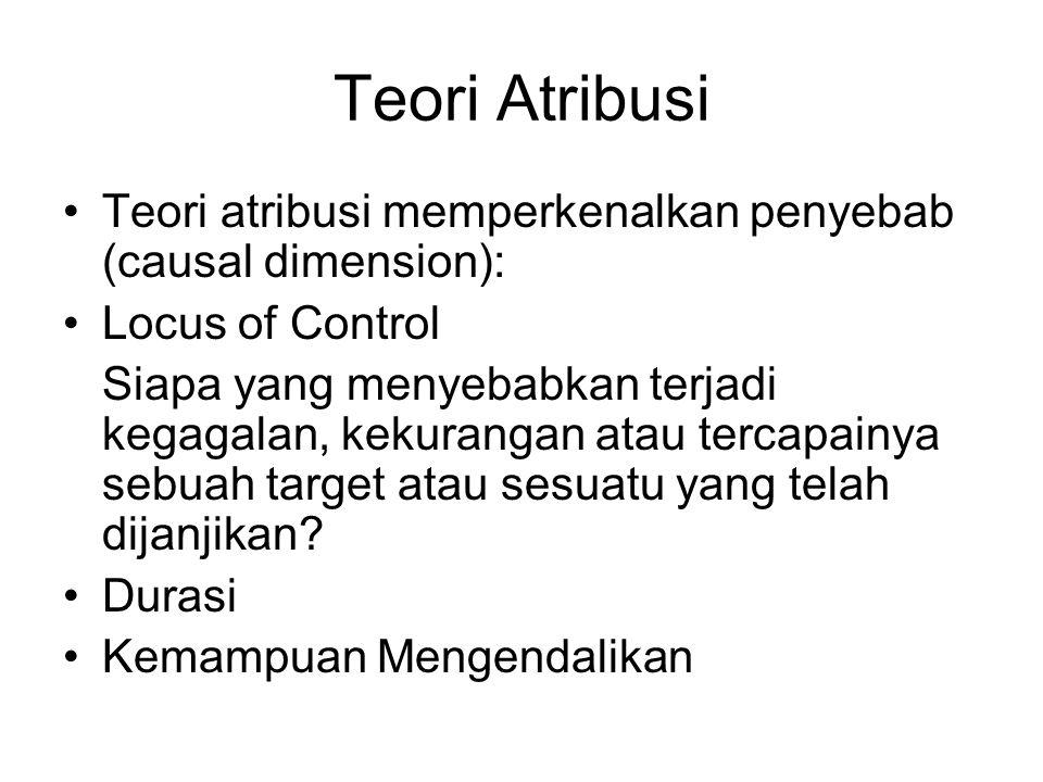 Teori Atribusi Teori atribusi memperkenalkan penyebab (causal dimension): Locus of Control.