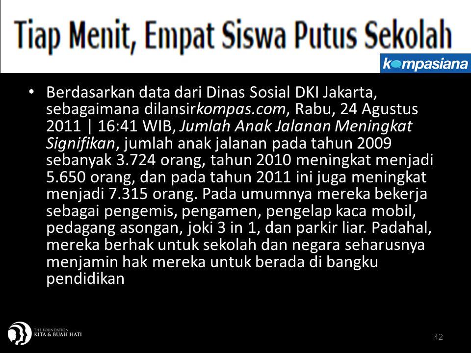 Berdasarkan data dari Dinas Sosial DKI Jakarta, sebagaimana dilansirkompas.com, Rabu, 24 Agustus 2011 | 16:41 WIB, Jumlah Anak Jalanan Meningkat Signifikan, jumlah anak jalanan pada tahun 2009 sebanyak 3.724 orang, tahun 2010 meningkat menjadi 5.650 orang, dan pada tahun 2011 ini juga meningkat menjadi 7.315 orang. Pada umumnya mereka bekerja sebagai pengemis, pengamen, pengelap kaca mobil, pedagang asongan, joki 3 in 1, dan parkir liar. Padahal, mereka berhak untuk sekolah dan negara seharusnya menjamin hak mereka untuk berada di bangku pendidikan