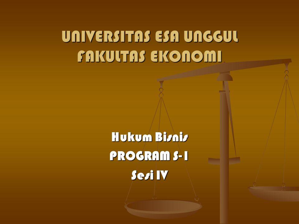UNIVERSITAS ESA UNGGUL FAKULTAS EKONOMI