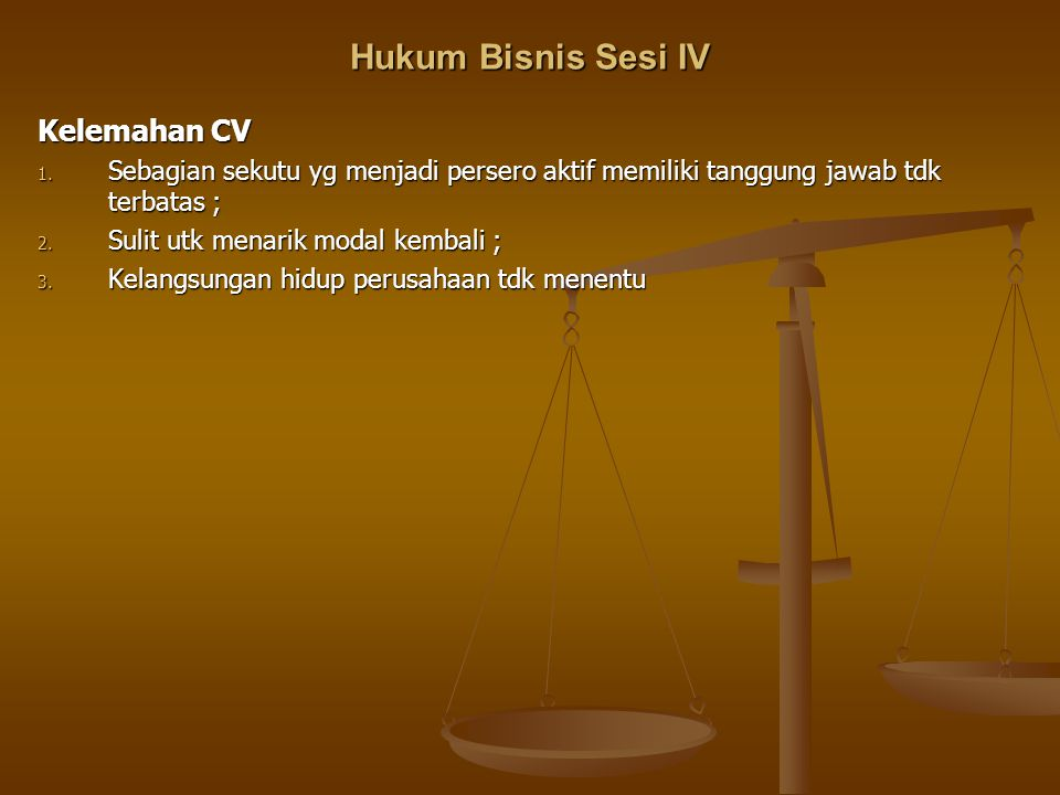 Hukum Bisnis Sesi IV Kelemahan CV