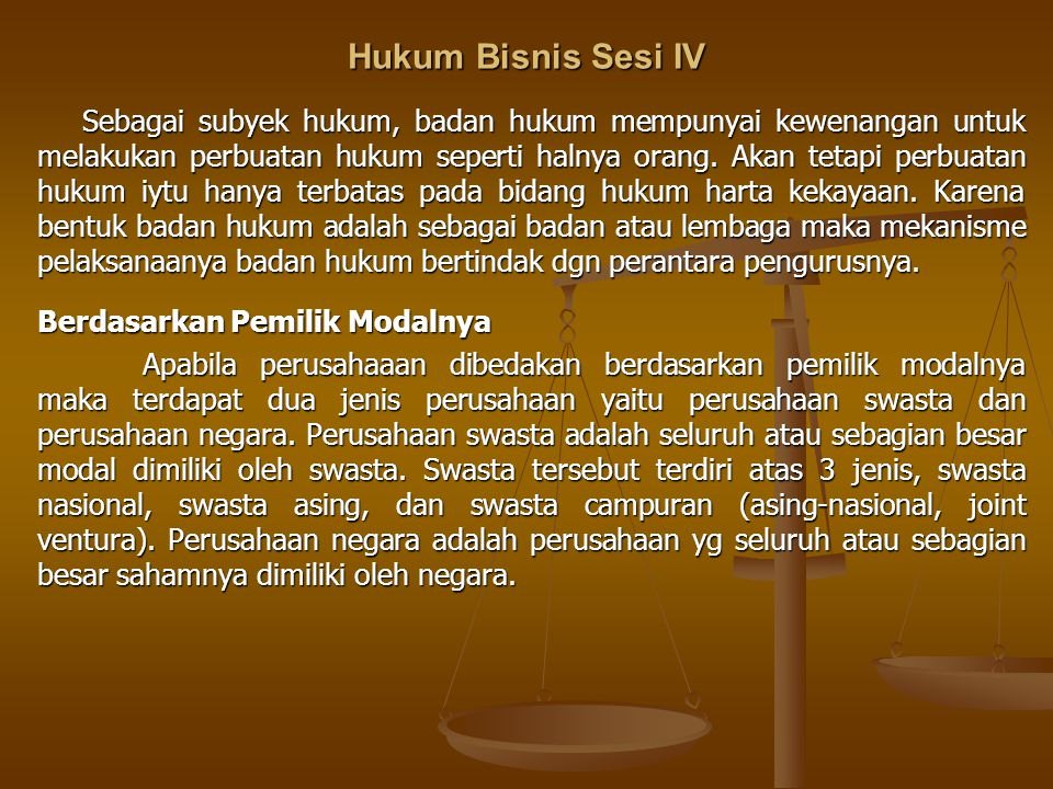 Hukum Bisnis Sesi IV