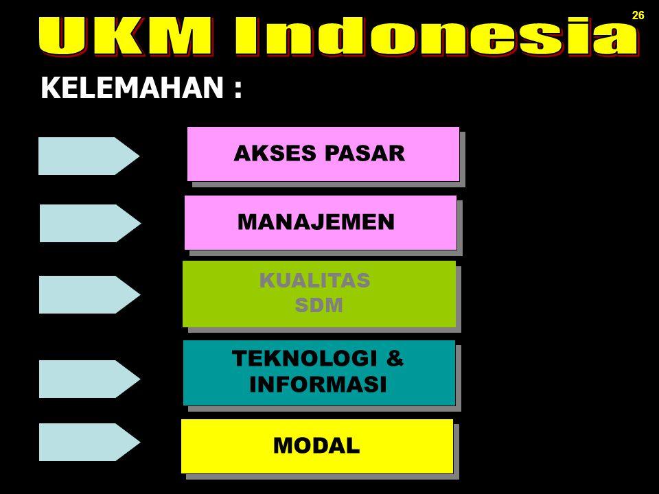 KELEMAHAN : UKM Indonesia AKSES PASAR MANAJEMEN TEKNOLOGI & INFORMASI
