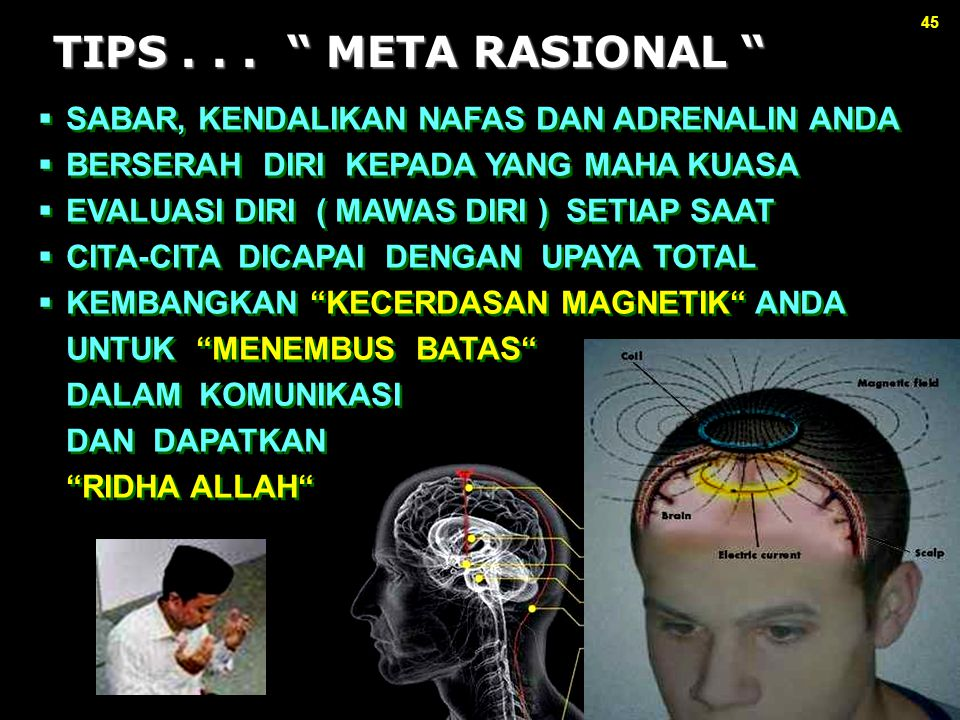 TIPS . . . META RASIONAL SABAR, KENDALIKAN NAFAS DAN ADRENALIN ANDA. BERSERAH DIRI KEPADA YANG MAHA KUASA.