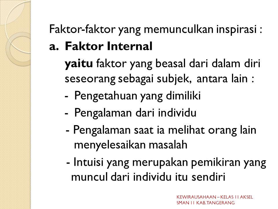 Faktor-faktor yang memunculkan inspirasi : a