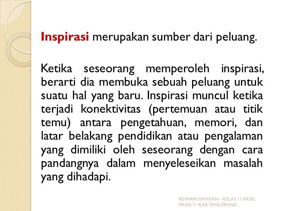 Inspirasi merupakan sumber dari peluang