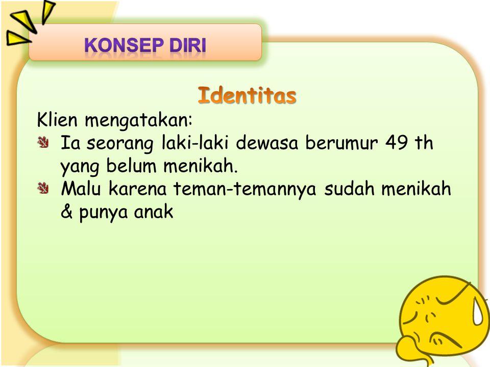 Identitas Konsep Diri Klien mengatakan: