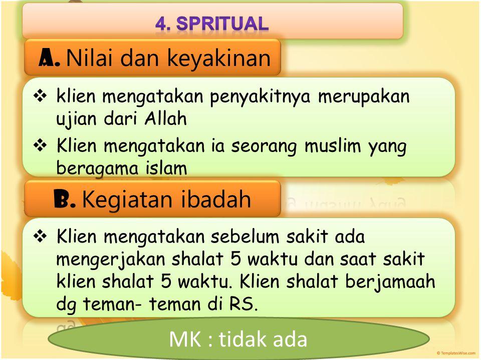 a. Nilai dan keyakinan b. Kegiatan ibadah MK : tidak ada 4. spritual