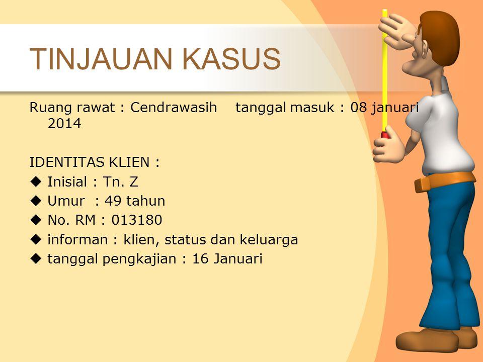 TINJAUAN KASUS Ruang rawat : Cendrawasih tanggal masuk : 08 januari 2014. IDENTITAS KLIEN : Inisial : Tn. Z.
