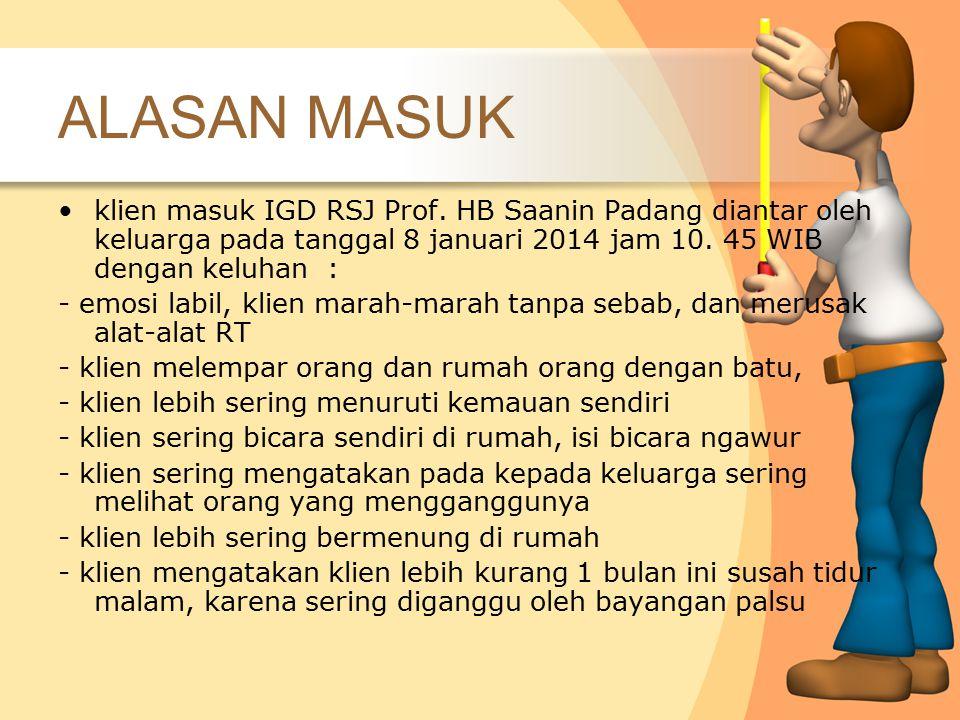 ALASAN MASUK klien masuk IGD RSJ Prof. HB Saanin Padang diantar oleh keluarga pada tanggal 8 januari 2014 jam 10. 45 WIB dengan keluhan :