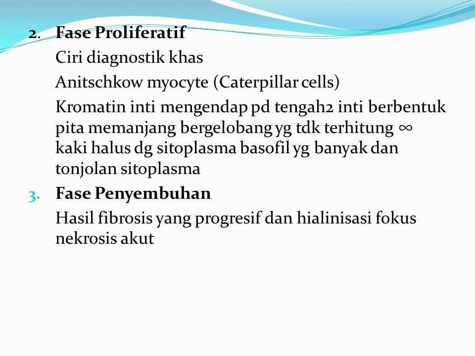 2. Fase Proliferatif Ciri diagnostik khas. Anitschkow myocyte (Caterpillar cells)