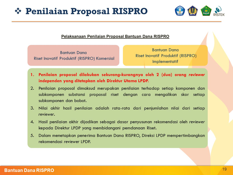 Pelaksanaan Penilaian Proposal Bantuan Dana RISPRO