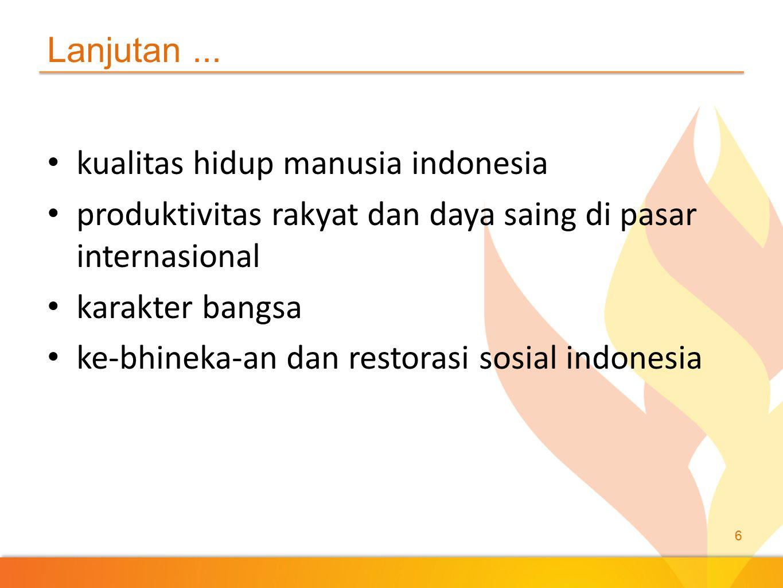 Lanjutan ... kualitas hidup manusia indonesia. produktivitas rakyat dan daya saing di pasar internasional.