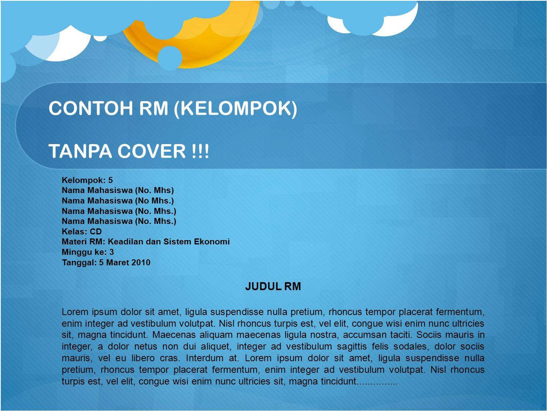 CONTOH RM (KELOMPOK) TANPA COVER !!!