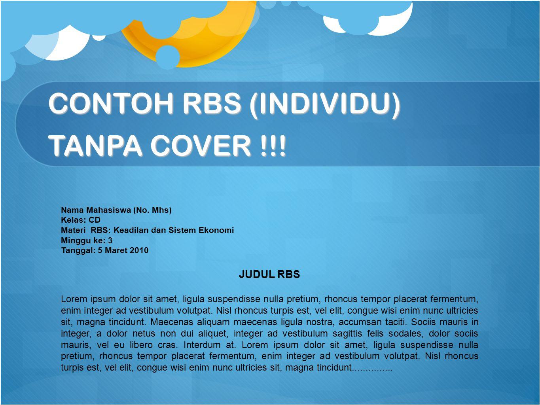 CONTOH RBS (INDIVIDU) TANPA COVER !!!