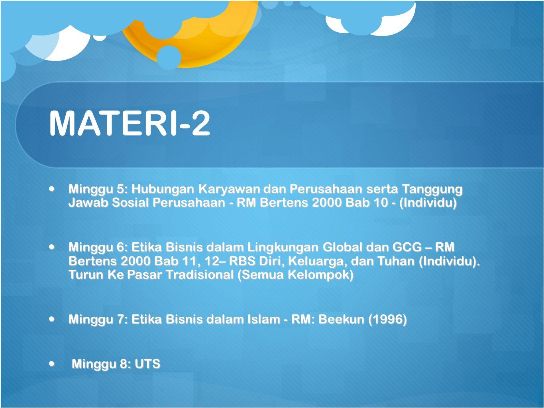 MATERI-2 Minggu 5: Hubungan Karyawan dan Perusahaan serta Tanggung Jawab Sosial Perusahaan - RM Bertens 2000 Bab 10 - (Individu)