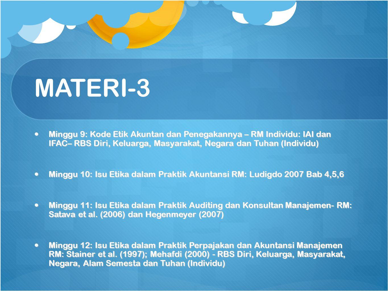 MATERI-3 Minggu 9: Kode Etik Akuntan dan Penegakannya – RM Individu: IAI dan IFAC– RBS Diri, Keluarga, Masyarakat, Negara dan Tuhan (Individu)