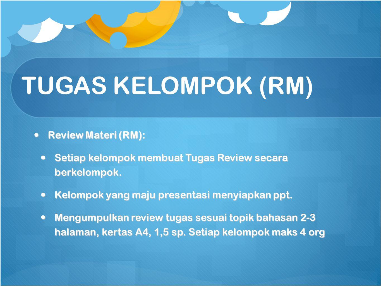 TUGAS KELOMPOK (RM) Review Materi (RM):