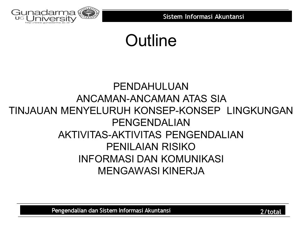 Outline PENDAHULUAN ANCAMAN-ANCAMAN ATAS SIA