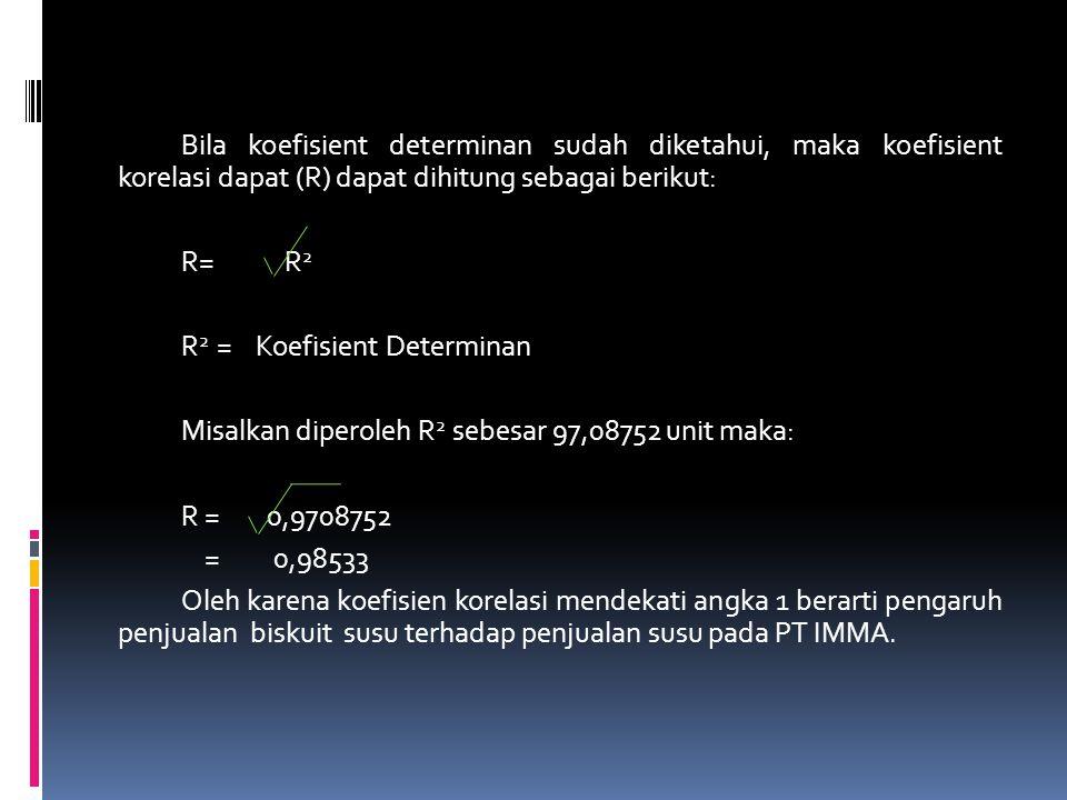 Bila koefisient determinan sudah diketahui, maka koefisient korelasi dapat (R) dapat dihitung sebagai berikut: