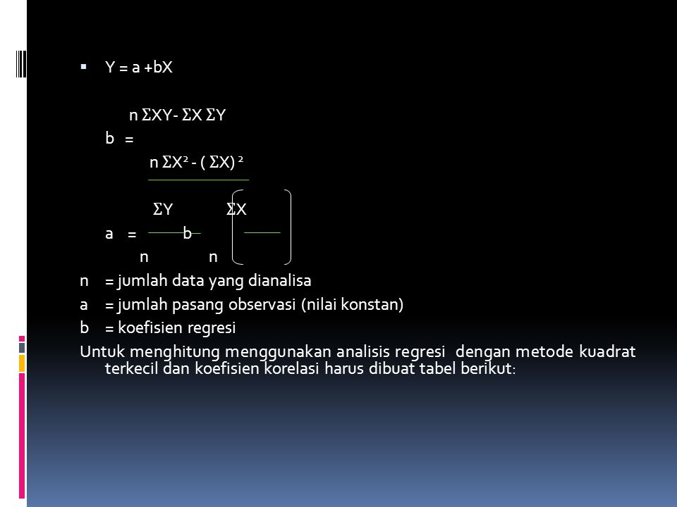 Y = a +bX n ƩXY- ƩX ƩY. b = n ƩX2 - ( ƩX) 2. ƩY ƩX. a = b. n n.