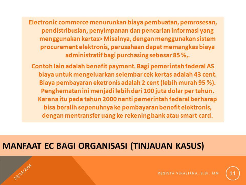 MANFAAT EC BAGI ORGANISASI (Tinjauan kasus)