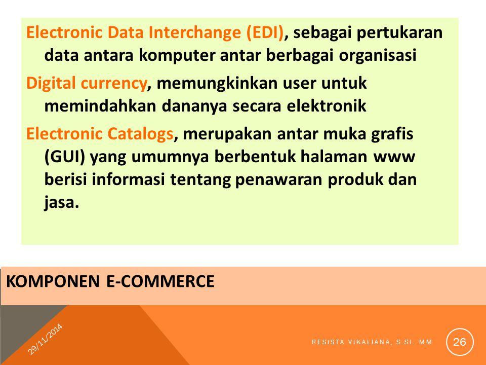 Electronic Data Interchange (EDI), sebagai pertukaran data antara komputer antar berbagai organisasi