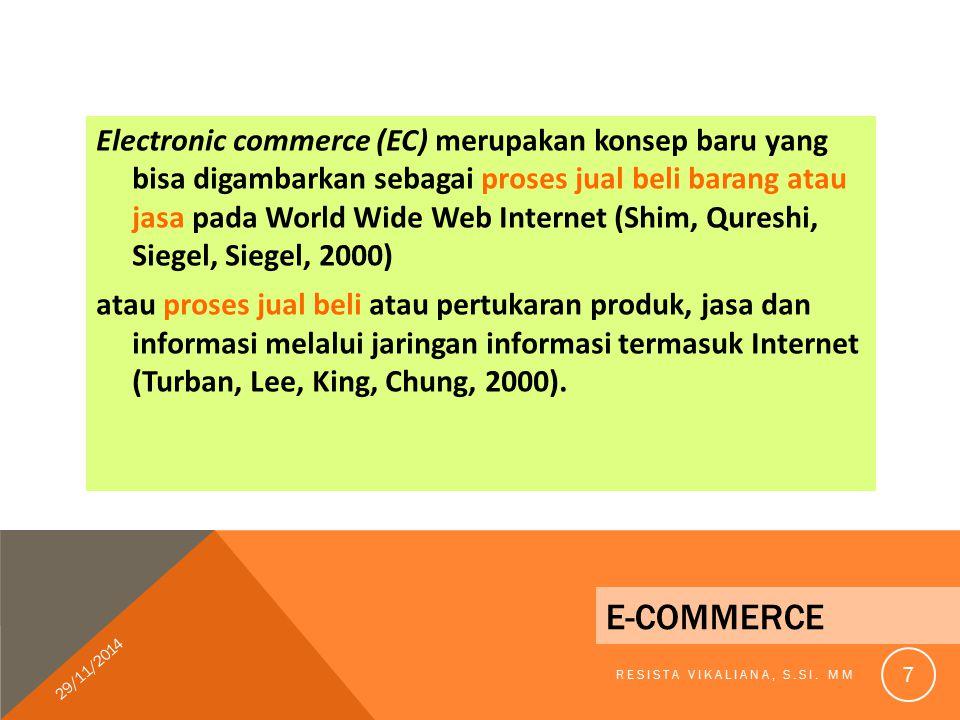 Electronic commerce (EC) merupakan konsep baru yang bisa digambarkan sebagai proses jual beli barang atau jasa pada World Wide Web Internet (Shim, Qureshi, Siegel, Siegel, 2000) atau proses jual beli atau pertukaran produk, jasa dan informasi melalui jaringan informasi termasuk Internet (Turban, Lee, King, Chung, 2000).