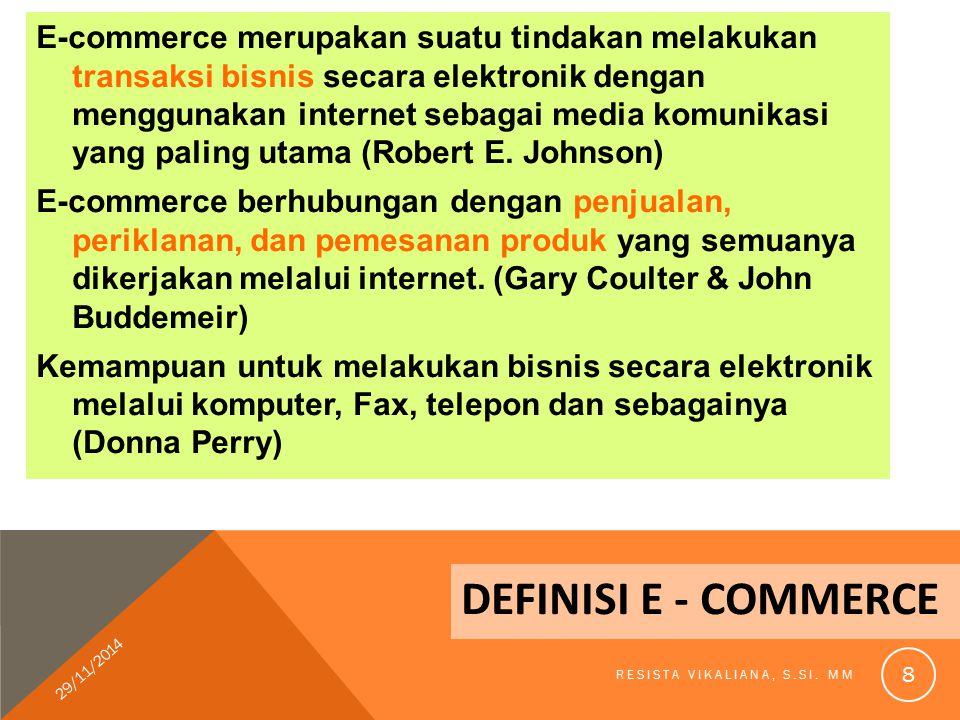 E-commerce merupakan suatu tindakan melakukan transaksi bisnis secara elektronik dengan menggunakan internet sebagai media komunikasi yang paling utama (Robert E. Johnson)
