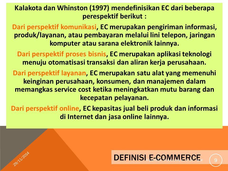 Kalakota dan Whinston (1997) mendefinisikan EC dari beberapa perespektif berikut :