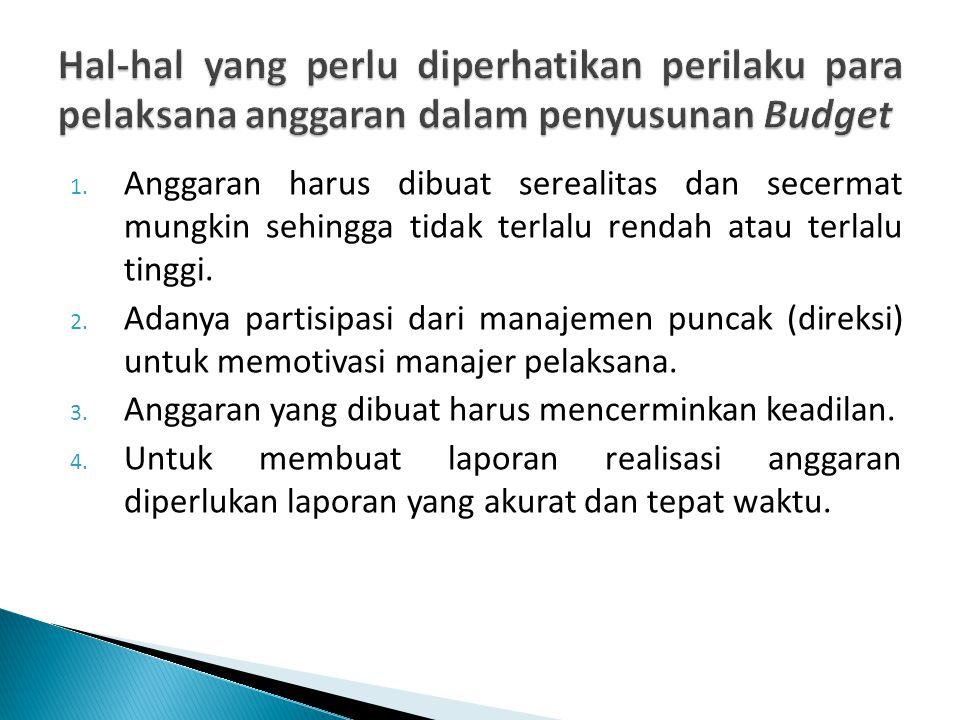 Hal-hal yang perlu diperhatikan perilaku para pelaksana anggaran dalam penyusunan Budget