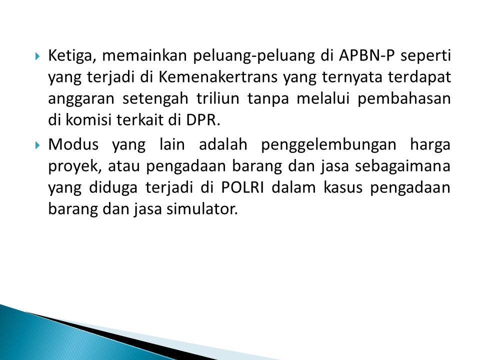 Ketiga, memainkan peluang-peluang di APBN-P seperti yang terjadi di Kemenakertrans yang ternyata terdapat anggaran setengah triliun tanpa melalui pembahasan di komisi terkait di DPR.
