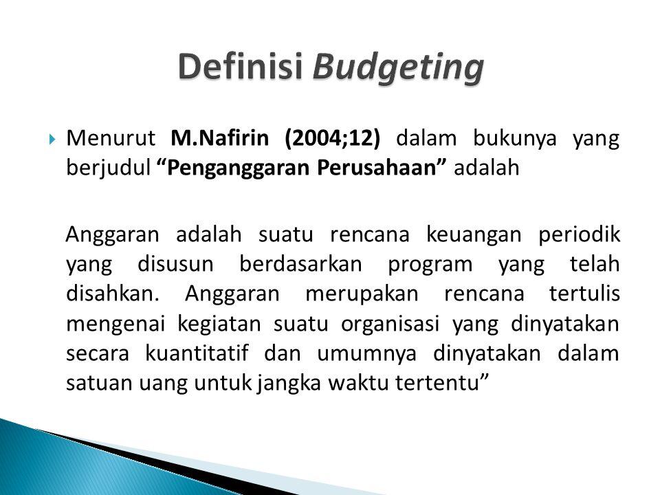 Definisi Budgeting Menurut M.Nafirin (2004;12) dalam bukunya yang berjudul Penganggaran Perusahaan adalah.