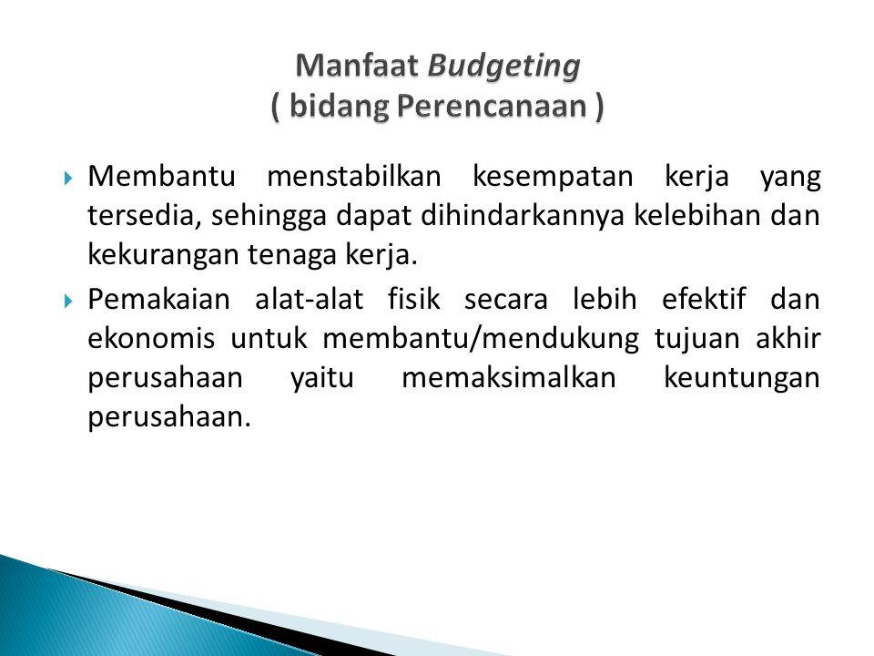 Manfaat Budgeting ( bidang Perencanaan )