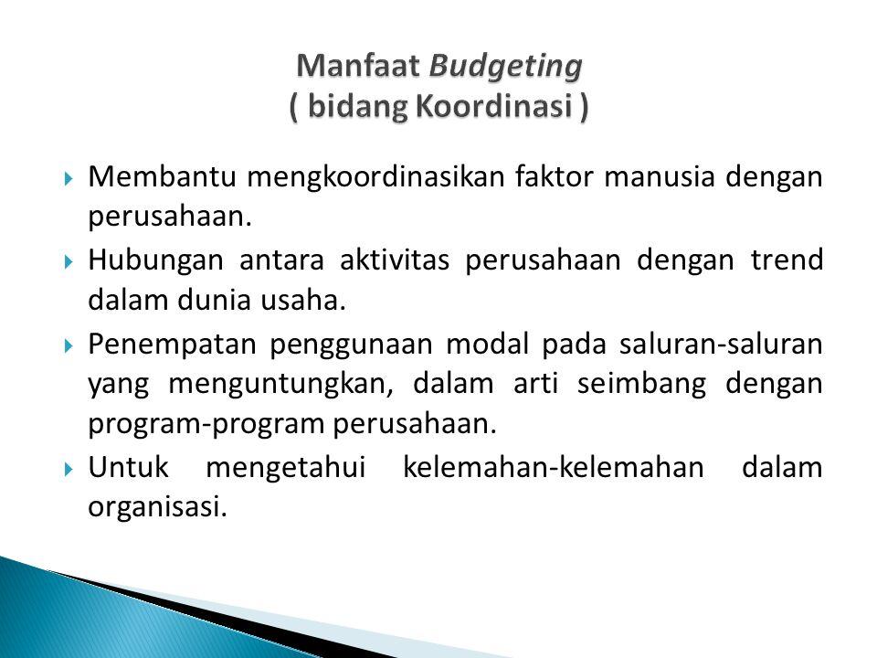 Manfaat Budgeting ( bidang Koordinasi )