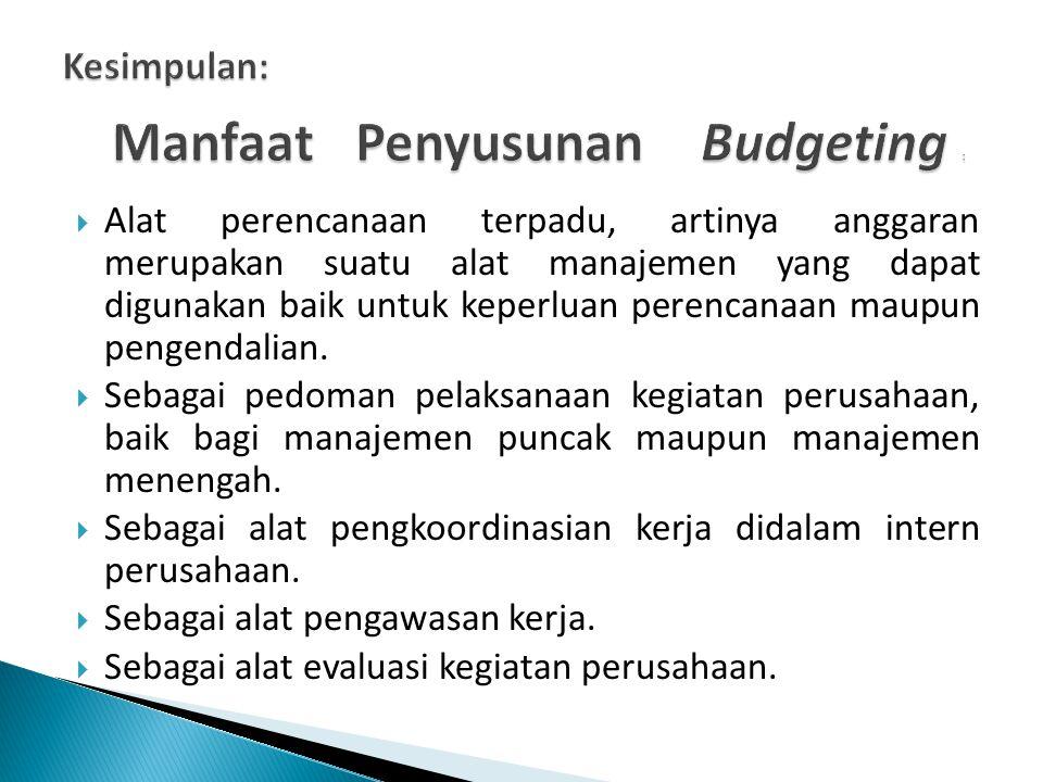 Manfaat Penyusunan Budgeting :