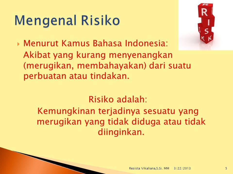Mengenal Risiko Menurut Kamus Bahasa Indonesia: