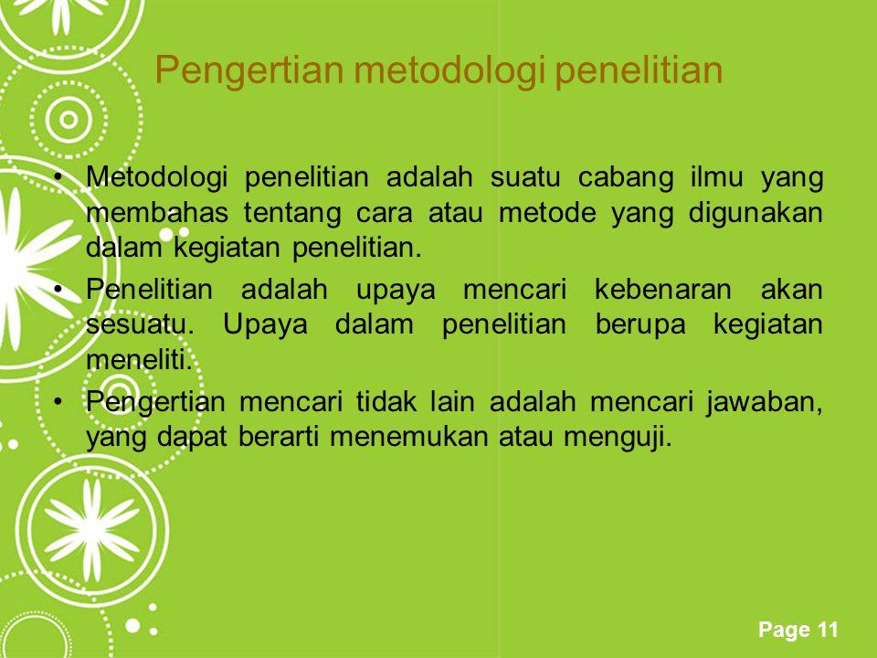 Pengertian metodologi penelitian