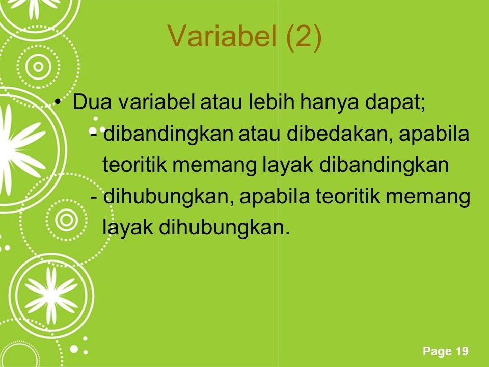 Variabel (2) Dua variabel atau lebih hanya dapat;