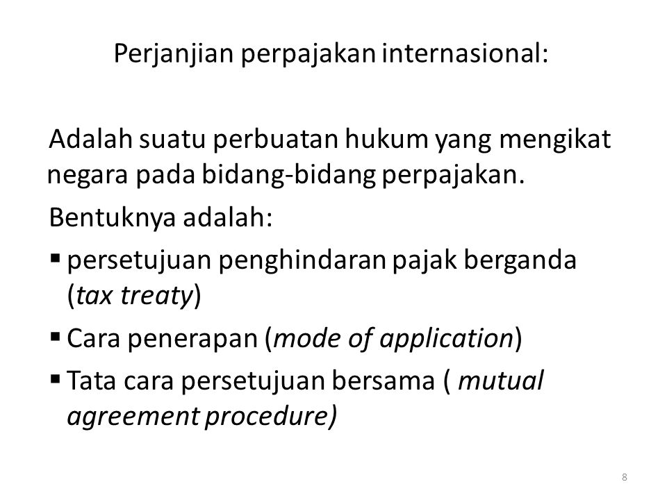 Perjanjian perpajakan internasional: