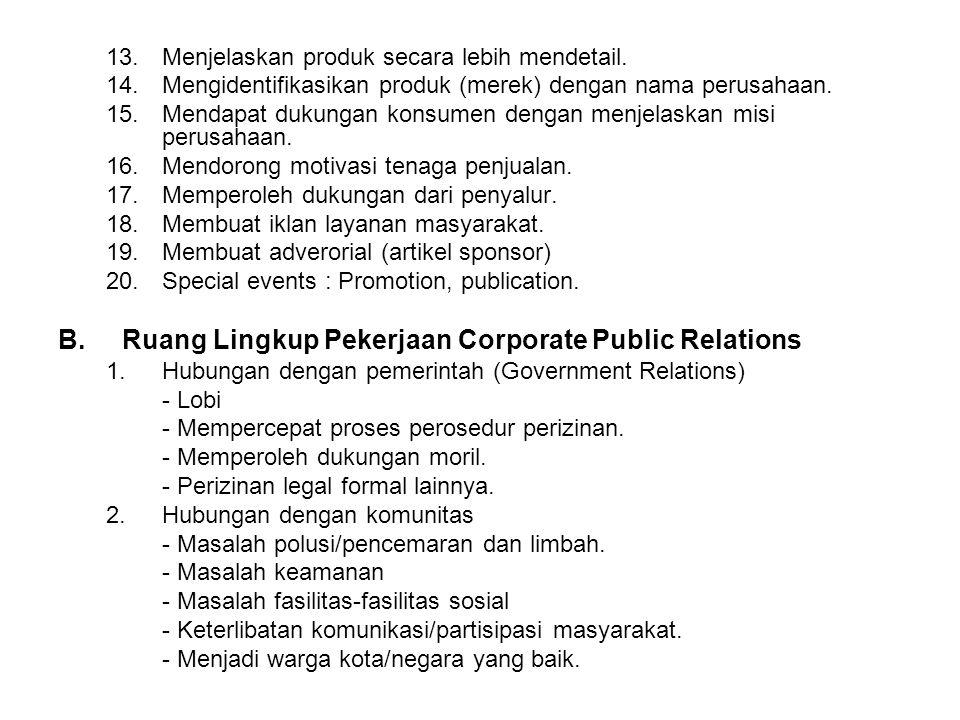Ruang Lingkup Pekerjaan Corporate Public Relations