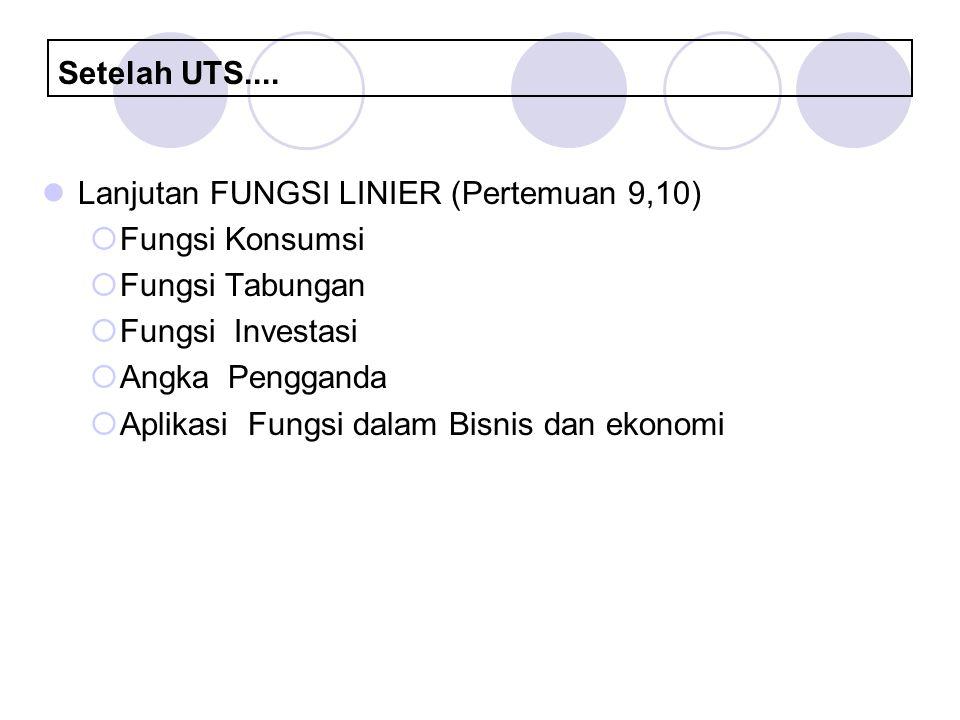 Setelah UTS.... Lanjutan FUNGSI LINIER (Pertemuan 9,10) Fungsi Konsumsi. Fungsi Tabungan. Fungsi Investasi.