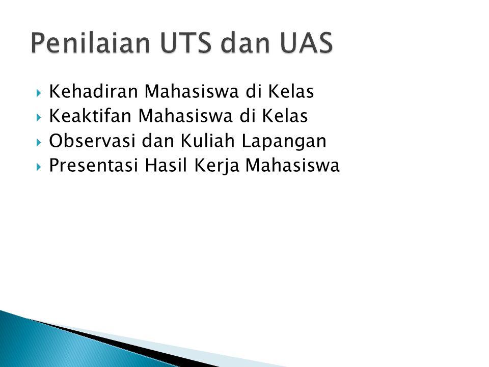 Penilaian UTS dan UAS Kehadiran Mahasiswa di Kelas