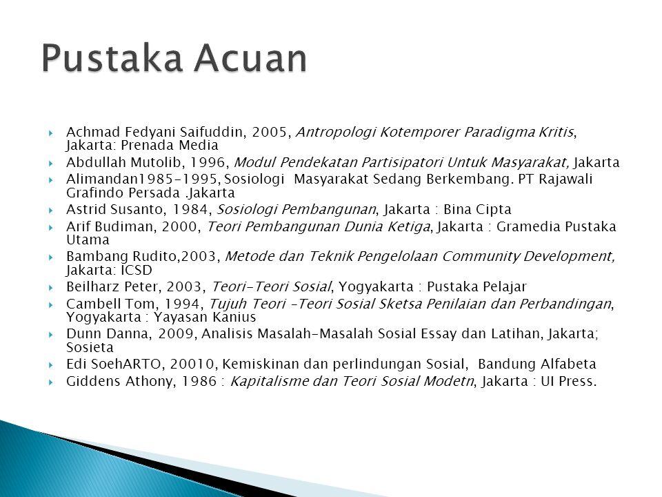 Pustaka Acuan Achmad Fedyani Saifuddin, 2005, Antropologi Kotemporer Paradigma Kritis, Jakarta: Prenada Media.