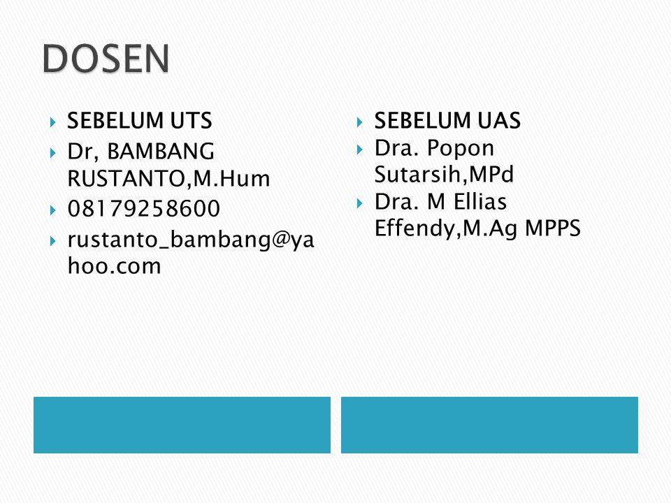 DOSEN SEBELUM UTS Dr, BAMBANG RUSTANTO,M.Hum 08179258600