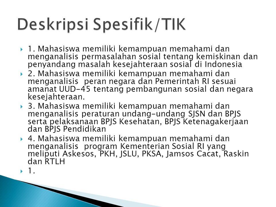Deskripsi Spesifik/TIK