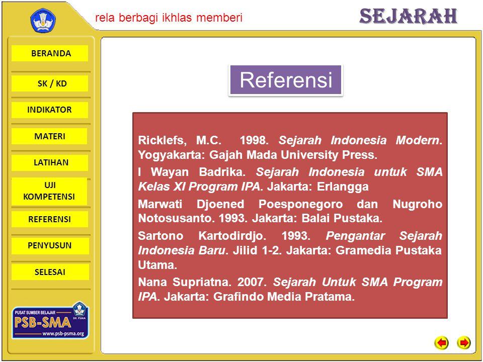 Referensi Ricklefs, M.C. 1998. Sejarah Indonesia Modern. Yogyakarta: Gajah Mada University Press.