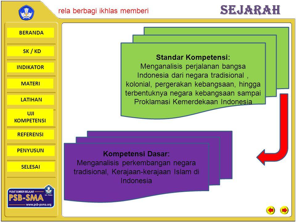 Kompetensi Dasar: Menganalisis perkembangan negara tradisional, Kerajaan-kerajaan Islam di Indonesia.