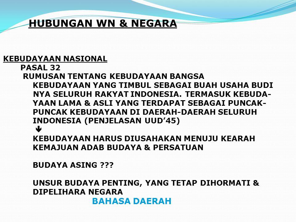 HUBUNGAN WN & NEGARA KEBUDAYAAN NASIONAL PASAL 32